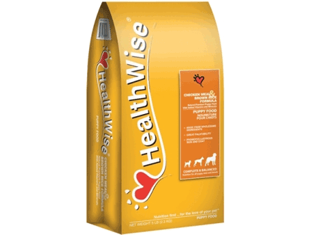 Chicken meal and brown rice formula dry puppy food from Health Wise