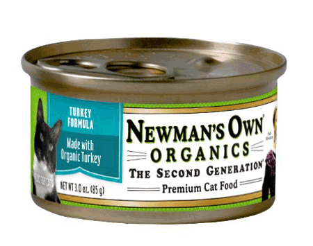 Premium cat food from Newman's own organics