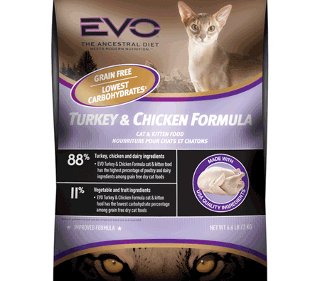 Turkey & Chicken Formula Dry Cat & Kitten Food from Evo